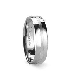 W331-DSS. HERA Domed Tungsten Carbide Ring with Satin Stripe - 4mm & 6mm