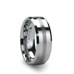 W322-FBBS. GRENOBLE Beveled Tungsten Carbide Ring with Brushed Stripe - 6mm & 8mm