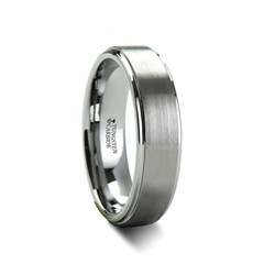 W241-RSC. OPTIMUS Brush Finish Tungsten Carbide Ring with Raised Center - 4mm - 12mm