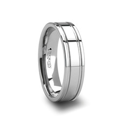 W236-POG. ANCHORAGE Tungsten Carbide Ring with Dual Offset Grooves- 6mm & 8mm