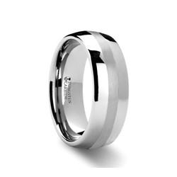 W287-DPI. PONTUS Domed Platinum Inlaid Tungsten Carbide Ring - 6mm & 8mm