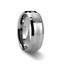 W289-BPI. HALSTEN Platinum Inlaid Beveled Tungsten Carbide Ring - 6mm & 8mm
