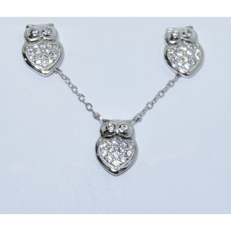 SET-530 925 SILVER CRYSTAL OWL NECKLACE & EARRINGS SET