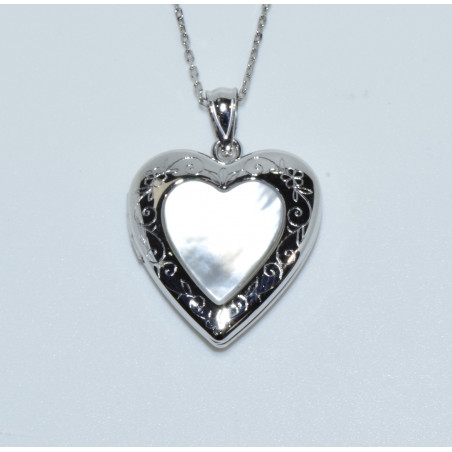 J-2618 925 SILVER MOTHER OF PEARL HEART LOCKET