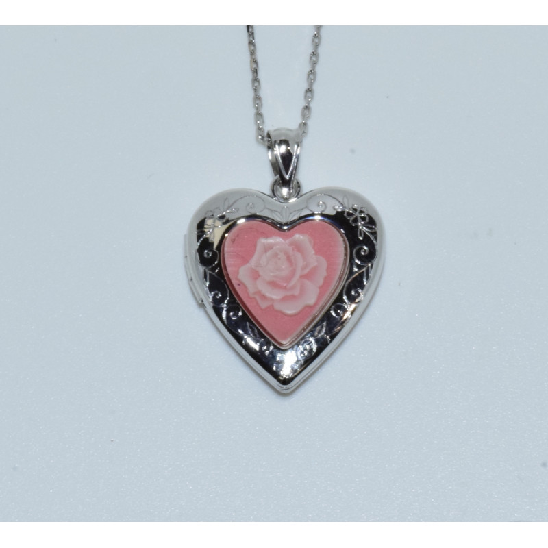 J-2681 925 SILVER PINK STONE FLOWER CAMEO HEART LOCKET