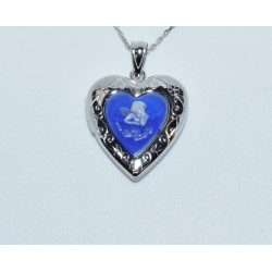 J-2682 925 SILVER BLUE STONE ANGEL CAMEO HEART LOCKET