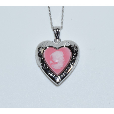 J-2658 925 SILVER PINK STONE CAMEO HEART LOCKET