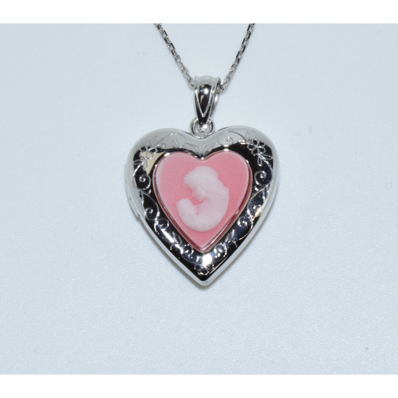 J-2683 925 SILVER PINK STONE MOTHER AND CHILD CAMEO HEART LOCKET