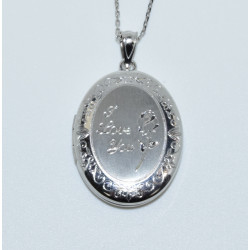 "J-2683 925 SILVER ""I LOVE YOU"" WITH ROSE OVAL LOCKET"