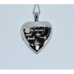 "J-2625 925 SILVER ""I LOVE YOU TO THE MOON AND BACK"" HEART LOCKET"