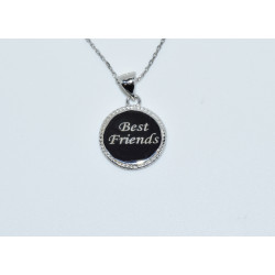 "J-2575 925 SILVER ROPE BORDER DISC ""BEST FRIENDS"" PENDANT"