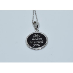 "J-2574 925 SILVER ROPE BORDER DISC ""MY HEART IS WITH YOU"" PENDANT"