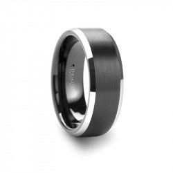 W485-BPPB. ASTON Black Brushed Center Tungsten Carbide Ring with Polished Beveled Edges - 4mm - 10mm