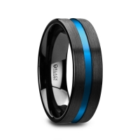 W5991-BCBG. WESTLEY Flat Brushed Finish Black Ceramic Men's Wedding Ring with Blue Grooved Center - 8mm