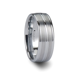 W670-TGWT. VANCOUVER Triple Grooved White Tungsten Carbide Ring - 8mm