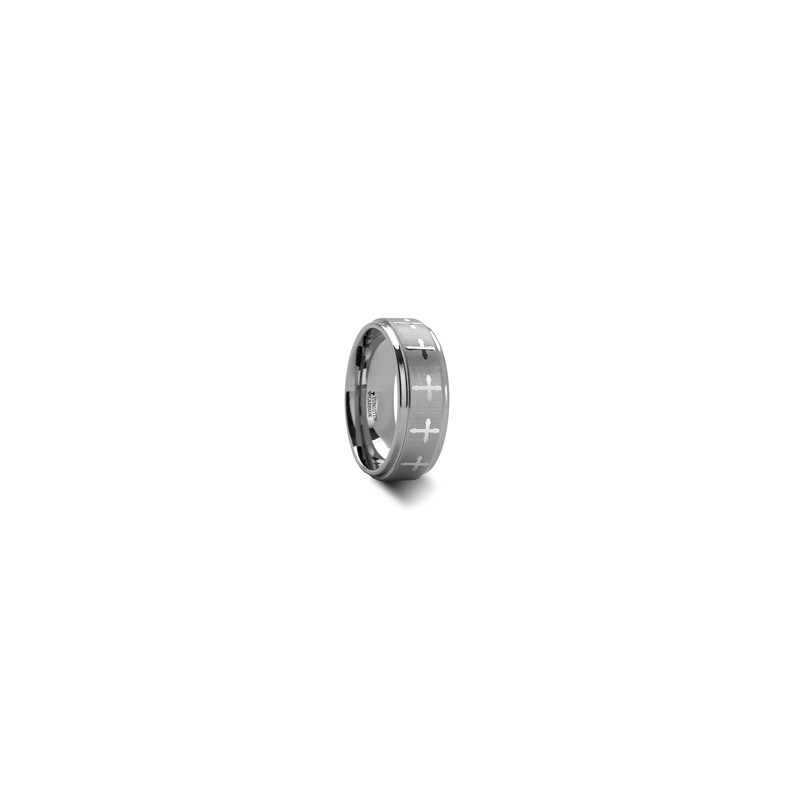W283-LE3. TRINITY Raised Center with Engraved Crosses Tungsten Carbide Ring - 8 mm