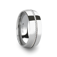 W365-DSBH. LYON Domed Tungsten Carbide Ring with Braided Silver Inlay - 8 mm