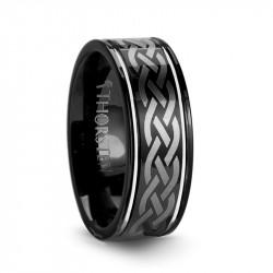 W245-BLE4. KILDARE Black Tungsten Carbide Ring with Celtic Design - 8 mm