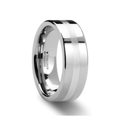 W385-FPDH. LETHOLDUS Flat Tungsten Carbide Ring with Palladium Inlaid- 6mm & 8mm