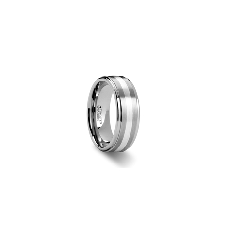 W883-RSSB. PRAETOR Silver Inlaid Raised Satin Finish Tungsten Ring - 8 mm