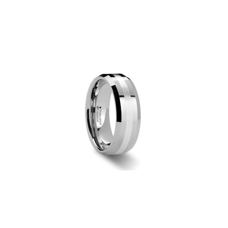 W880-BSSB. VECTOR Beveled Tungsten Carbide Ring with Silver Inlay - 6mm & 8mm