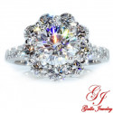 ENG02307. Round Diamond Halo Engagement Ring with a 1.20ct Forever ONE Moissanite