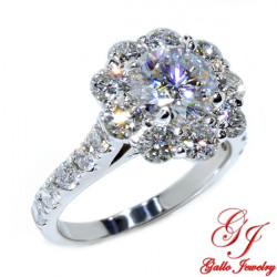 ENG02307. Round Diamond Halo Engagement Ring with a 1.20ct Forever ONE Hearts & Arrows Moissanite