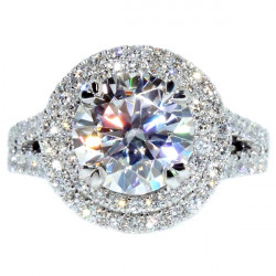 ENG01248. Round Diamond Double Halo Split Shank Engagement Ring with a 2.20ct Forever ONE Hearts & Arrows Moissanite