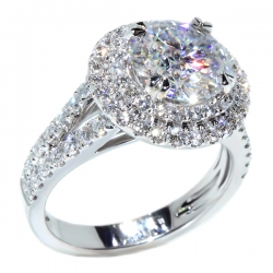 ENG01248. Round Diamond Double Halo Split Shank Engagement Ring (Center Stone Sold Separately)