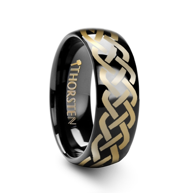 T175-BTCK. IDASON Polished Domed Black Tungsten Ring with Celtic Knot Design - 4mm - 12mm