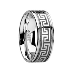 W2945-TCGK. THASOS Grooved Tungsten Carbide Wedding Band with Greek Key Meander Design - 8 mm