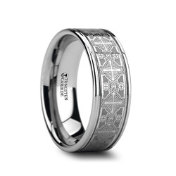 W875-LEC2. DEACON Flat Grooved Tungsten Ring with Engraved Intricate Cross Pattern - 8mm