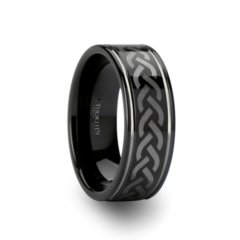 W673-BLE2. KILMORE Celtic Pattern Black Tungsten Carbide Ring - 8mm