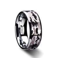 W2970. ARMISTICE Beveled Tungsten Carbide Ring with Black and Gray Camo Pattern - 8mm