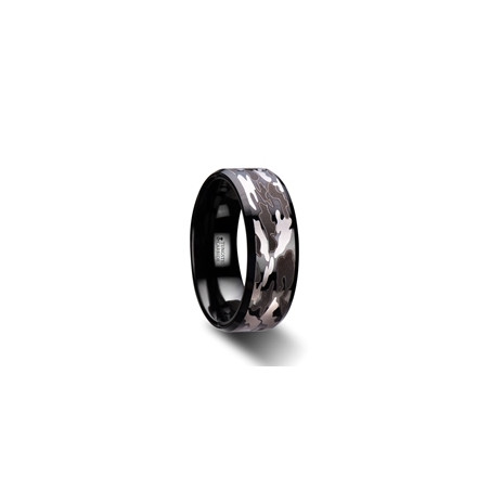 W2968-BTCB. CONQUEST Beveled Black Tungsten Carbide Ring with Black and Gray Camo Pattern - 8mm