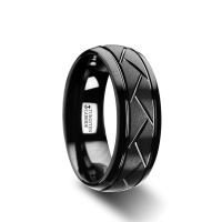 W2964-BTDC. ENIGMA Domed Black Tungsten Ring with Brushed Cross Alternating Diagonal Cuts Pattern - 8mm