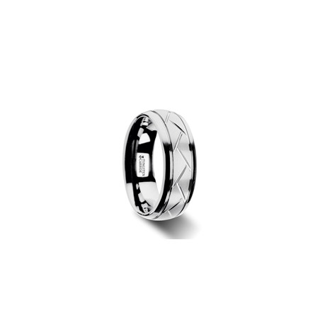 W2972-DTDG. OCTAVIAN Domed Tungsten Carbide Ring with Crisscross Grooves and Brushed Finish - 8mm