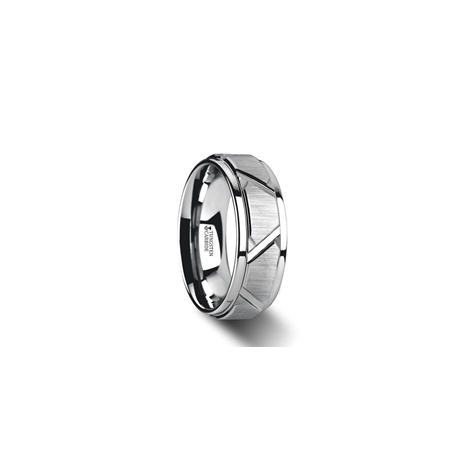 W3073-TCRC. VESTIGE Tungsten Ring with Triangle Angle Grooves and Raised Center - 8mm
