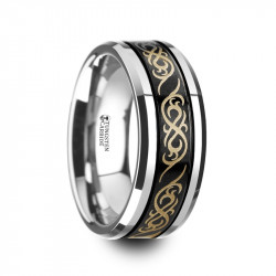 W4287-BCTP. RAIZEN Black Tungsten Wedding Ring with Laser Engraved Celtic Pattern and Beveled Edges - 8mm