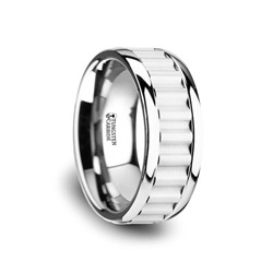 W3762-TCCI. CUTLASS Tungsten Carbide Wedding Band with Gear Teeth Inlay & Polished Edges - 9mm