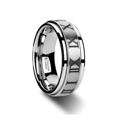 W3072-TCRN. IMPERIUS Raised Center Brush Finish Spinner Ring with Roman Numerals - 8mm