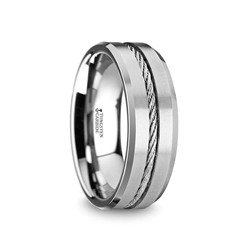 W1403-TCSW. LANNISTER Men's Tungsten Flat Wedding Band with Steel Wire Cable Inlay & Beveled Edges - 8mm
