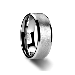 W3070-TCWB. THORNE Flat Tungsten Carbide Ring with Wire Brushed Finish and Beveled Edges - 6mm & 8mm