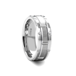 W1266-WBST. WARWICK Beveled Tungsten Carbide Wedding Band with Brush Finished Center and Alternating Grooves - 8mm