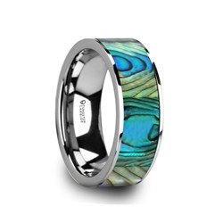 W5977-TCMOP. LAURANT Tungsten Men's Flat Wedding Band with Mother Of Pearl Inlay & Polished Finish - 8mm