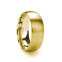 W5970-GPBD. MILLER Gold Plated Tungsten Domed Ring with Brushed Finish - 8mm