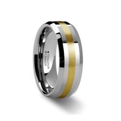 W872-BGIB. LEGIONAIRE Gold Inlaid Beveled Tungsten Ring - 6mm & 8mm
