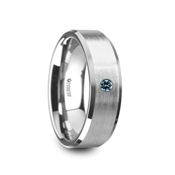 W5979-TCBS. MOORE Flat Brushed Center Polished Beveled Edges Men's Tungsten Wedding Band with Blue Diamond Setting - 6mm & 8mm