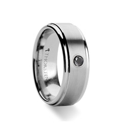 W350-RCBD. COVENTRY Raised Brushed Center Tungsten Carbide Ring with Black Diamond - 8 mm