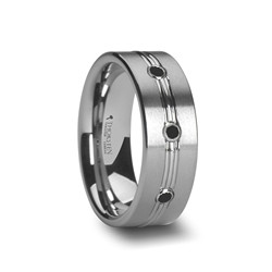 W762-TBDT. ROYALE Tungsten Carbide Ring with Polished Grooved Center and Triple Black Diamonds - 8mm